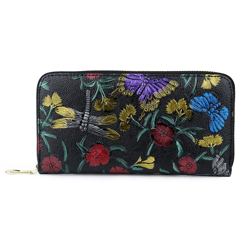 Carteira Feminina 2019 New Arrivals Long Women Wallets Large Capacity Fashion Flower Female Dragonfly Pattern Clutch Purses