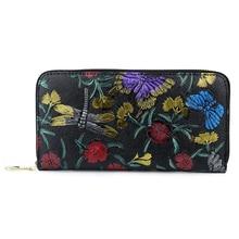 Carteira Feminina 2019 New Arrivals Long Women Wallets Large Capacity Fashion Flower Female Dragonfly Pattern Clutch Purses цена 2017