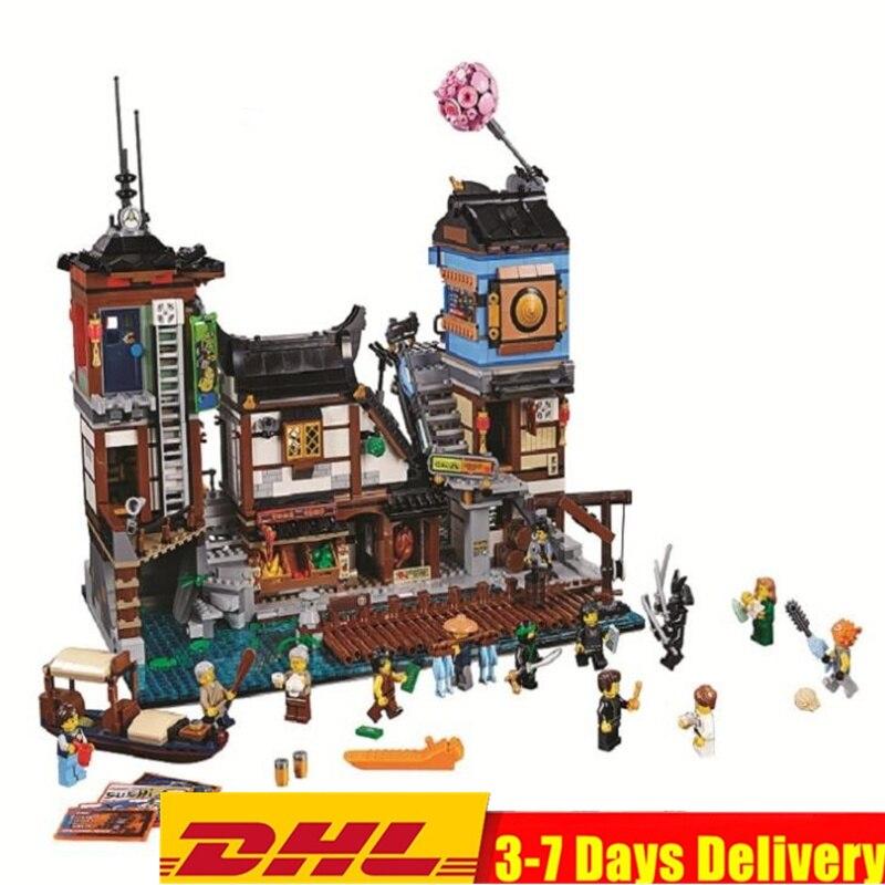 Ninjagoed Cais Templo Sede Mestres Fantasma Ninja Blocos Define Tijolos Crianças Brinquedos Compatível Legoings Filme