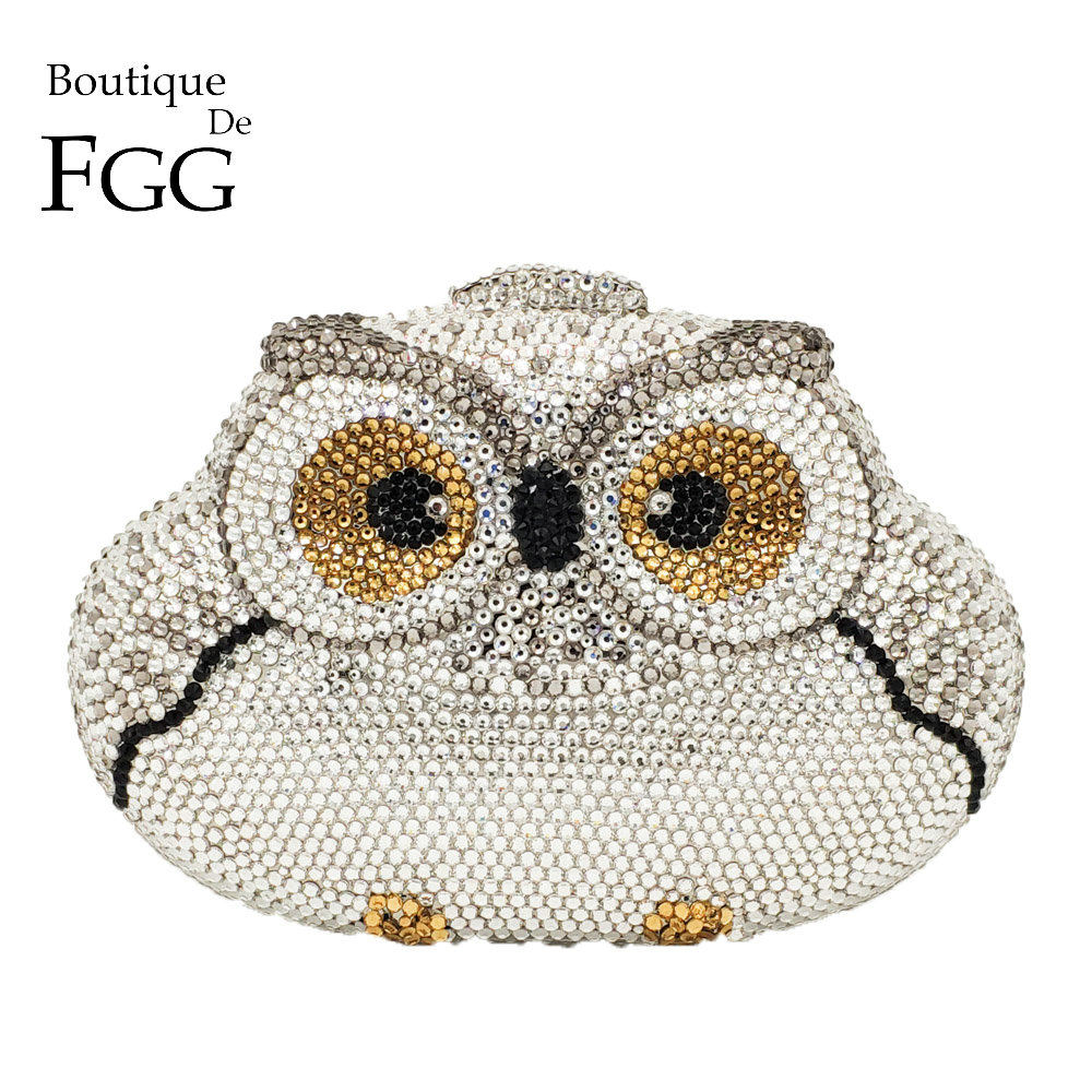 Boutique De FGG Dazzling Silver Owl Clutch Women Crystal Evening Bag Wedding Cocktail Party Diamond Minaudiere Handbag and Purse women black silver multicolor crystal evening bag clutch minaudiere wedding party cocktail handbag and purse crossbody bags lady