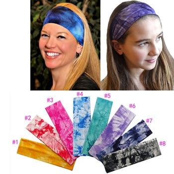 2 inch Tie Dye Printing Cotton Stretch Headbands Yoga Runnding Softball Sports Hair Bands Bandage On Head Gum Turban Bandana