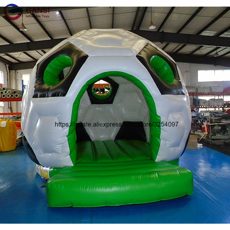4m length Soccer shape inflatable bounce jumping house,free air blower Inflatable bouncy trampoline for children