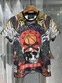 Новое Прибытие 2017 Высокое Качество Мужская Мода Tee Shirt Homme Полноцветная Печать ПП Марка Череп Футболки, Азии размер, Бесплатная Доставка