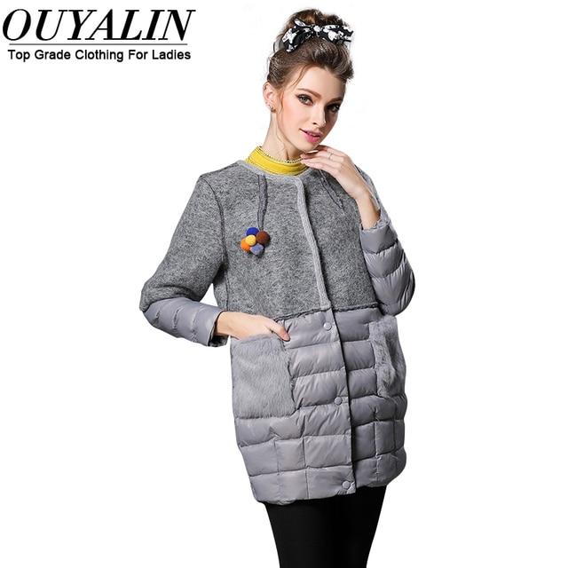 Ouyalin L-5XL Mulheres Plus Size Para Baixo Casaco Preto/Cinza 2016 Inverno Outwear Quente Longo Grande Bolso jaqueta