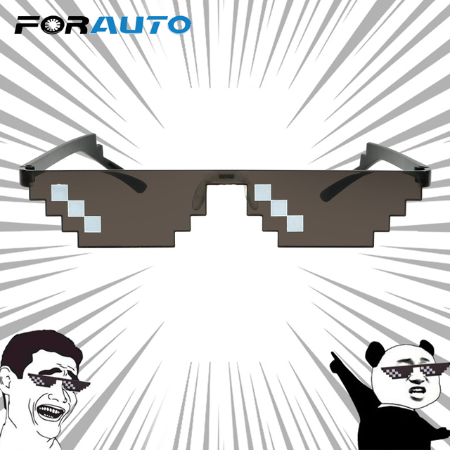 Motocross Bike Racing Glasses Deal With It Glasses Mosaic Vintage Funny Eyewear 3/6 Bit MLG Pixelated Sunglasses UV Protection