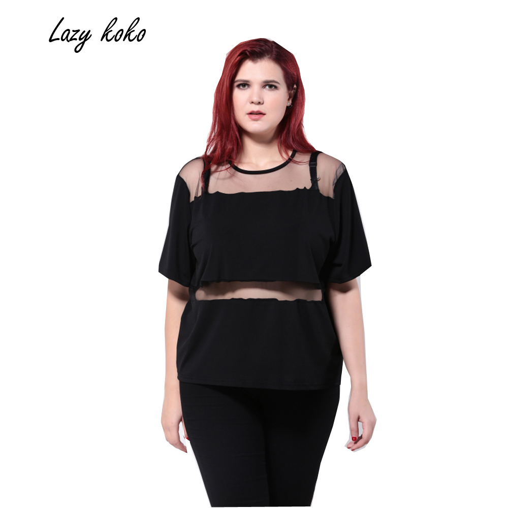 Lazy koko plus size new fashion women o neck casual big for Large shirt neck size