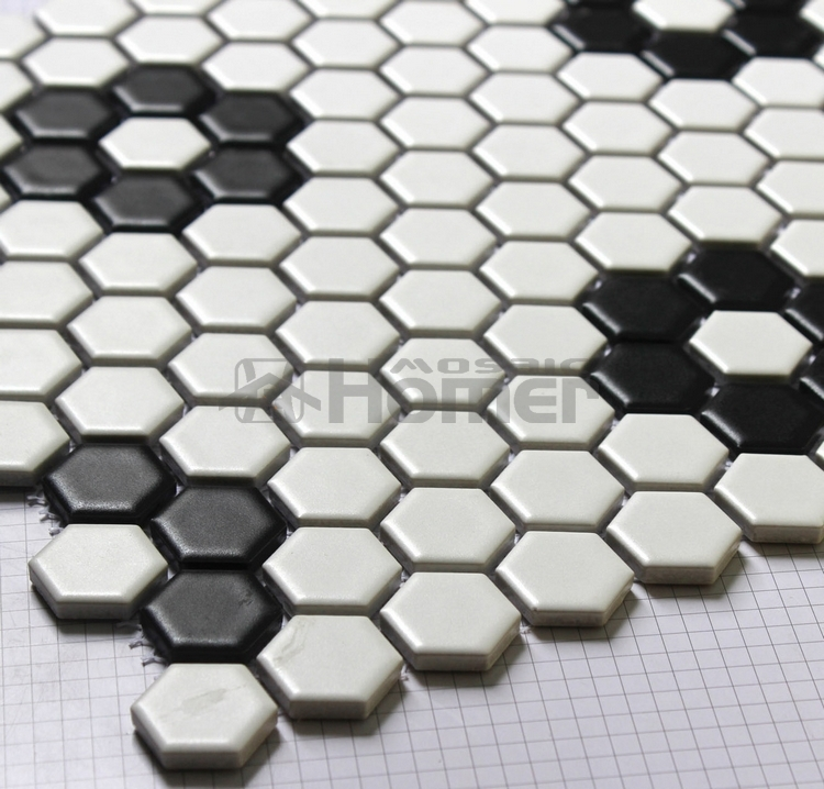 big hexagon white ceramic mosaic bathroom shower tiles wall and     shipping free   hexagon white and black ceramic mosaic  kitchen floor  mosaic tiles
