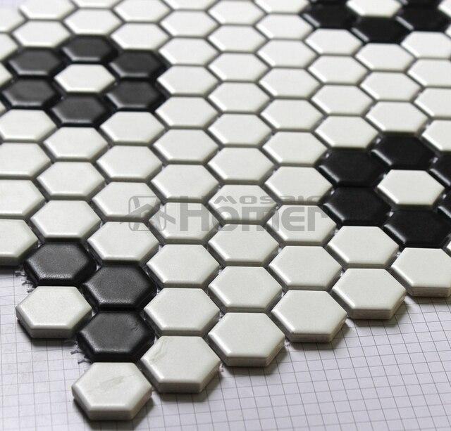 Shipping Free Hexagon White And Black Ceramic Mosaic Kitchen Floor Mosaic Tiles