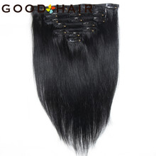 "Brazilian Remy Straight Natural Black Hair Clip in Human Hair Extensions 14"" 18""Full Head European Salon Style 1# 85G GOOD HAIR(China)"