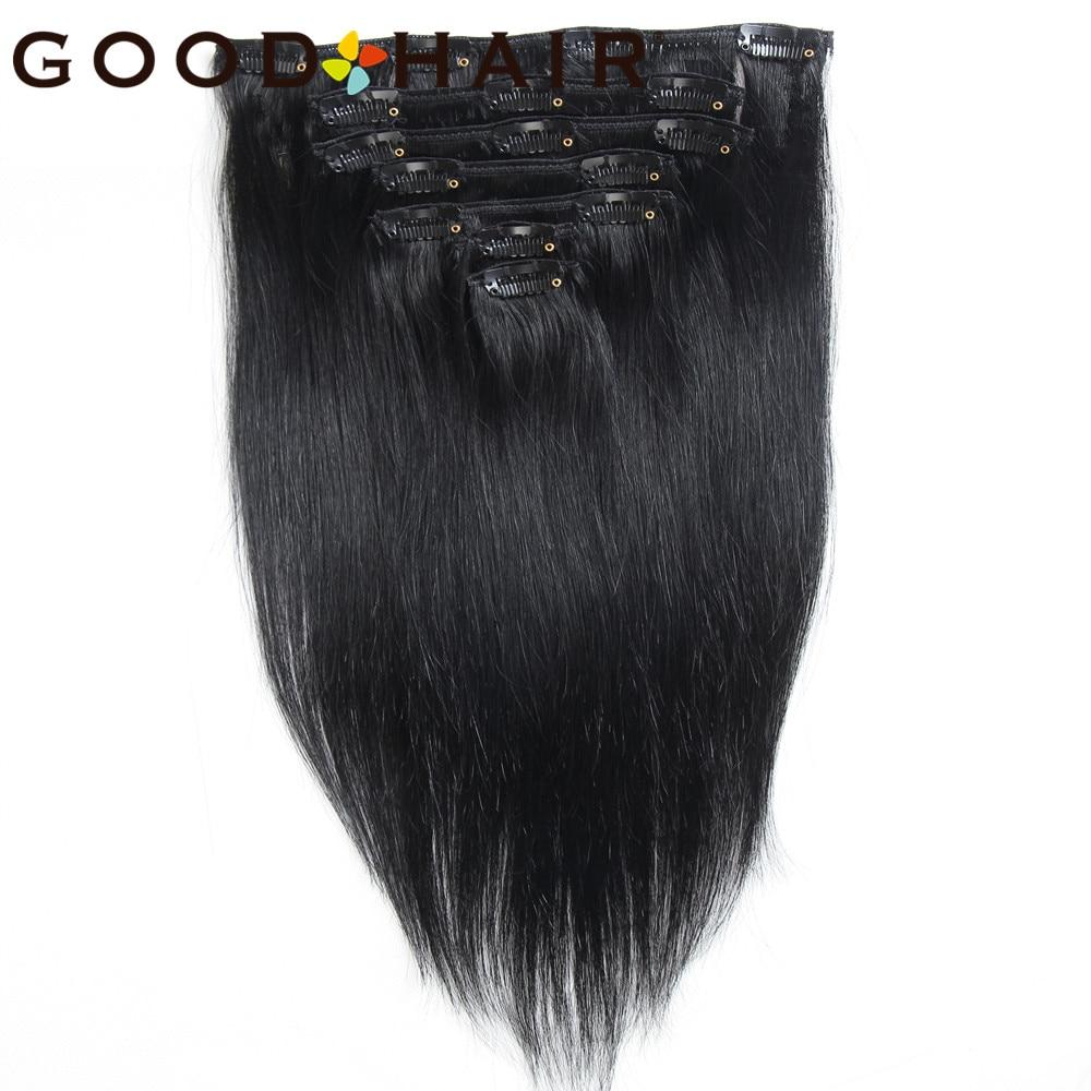 7Pcs/set Clip In Human Hair Extensions Straight 14inch 75G Black Natural Hair Clip Ins Brazilian Remy Hair Good Hair