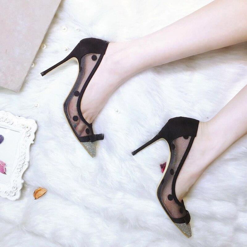 7cm Cm 7 Design Hauts Parti Mode De Noir Talon Flat Ou 10cm 10 À Minces D'été Femmes Talons Pompes Carollabelly Chaussures Maille Mariage 4xaZ1wgq5x