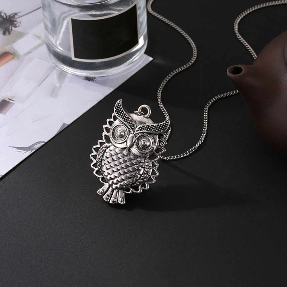 Hot Fashion Women Necklace Crystal Choker Bronze Owl Pendant Long Sweater Chain Necklace Stylish Jewelry Necklaces Torque Aneis