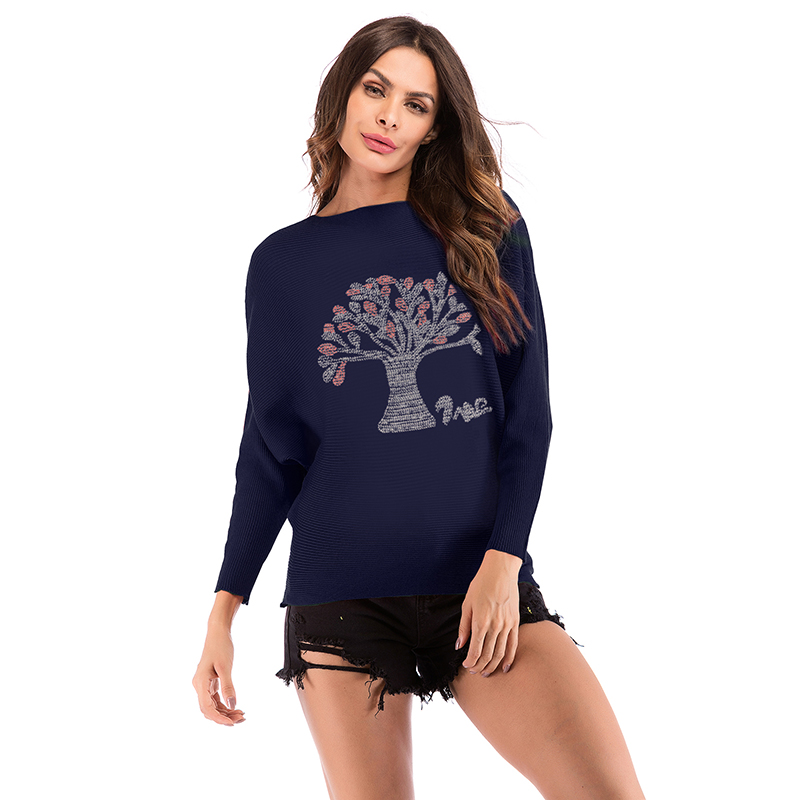 PGSD Fashion Plant tree Diamond decoration Autumn winter women clothes knitwear O-collar long sleeves Knitted sweater female