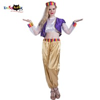 2018 Women Arabian Mystic Dreamy Genie Girl Costume Belly Dancer Cosplay Outfit Fancy Dress for Adult Lady Halloween Costumes