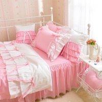 Белый розовый Корейская принцесса Постельное белье сельских Цветочный принт Набор пододеяльников для пуховых одеял хлопок Кружево рюшами