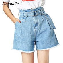 Donnalla Women Shorts Summer Casual Vintage High Waist Tassel Denim Shorts Fashion Cool Ripped Jeans Female Shorts