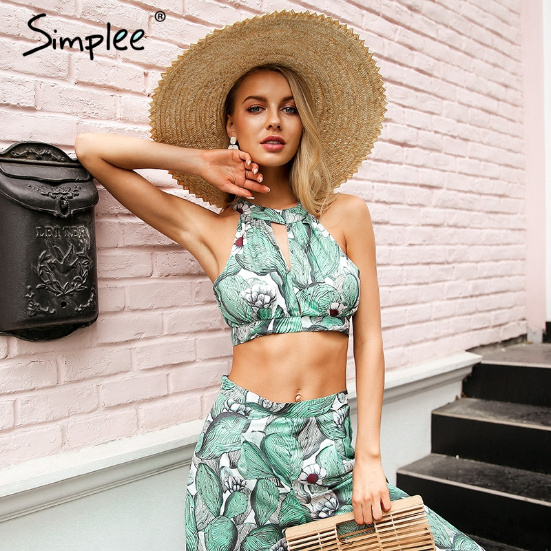 Simplee Boho print halter backless tank tops women Cut out sleeveless sexy crop top 2018 Summer beach camisole tie up camis tees cut out random floral print halter sleeveless crop top
