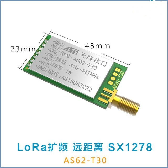 US $33 38 5% OFF|Wireless serial port module 8000M LoRa SX1278/SX1276 rf  Transmitter and Receiver Module AS62 T30 UART 433MHz 1W Wireless-in Modems
