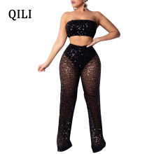 QILI Nightclub Sexy Sequined Jumpsuits Rompers Strapless Sleeveless See Through Mesh 2 Piece Set Wide Leg Jumpsuit New Arrivals