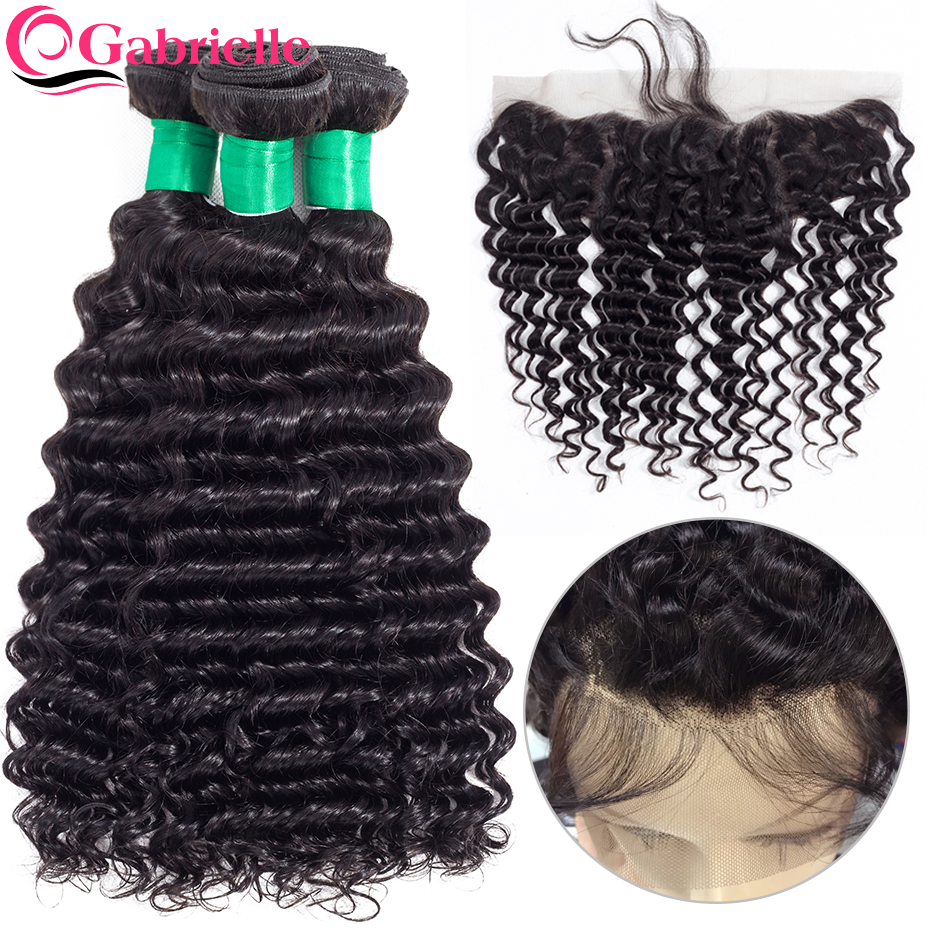 Malaysian Deep Wave Human Hair bundles with Frontal Gabrielle Non Remy Hair Weave Bundles with 13x4