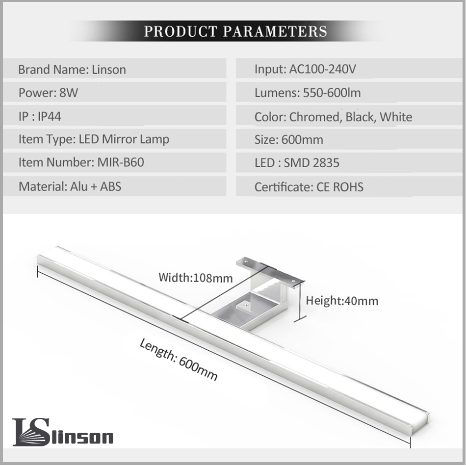 Image 4 - 2in1 Linson 60cm 8W 650lm IP44 CE ROHS Chromed Led Bathroom Mirror Light wall mounted led lamp led cabinet light-in LED Indoor Wall Lamps from Lights & Lighting