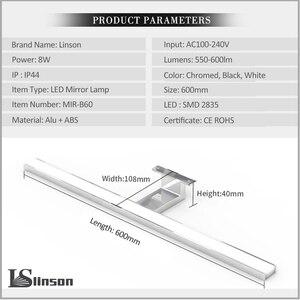 Image 4 - 2in1 linson 60cm 8 w 650lm ip44 ce rohs chromed led 욕실 거울 빛 벽 마운트 led 램프 led 캐비닛 빛