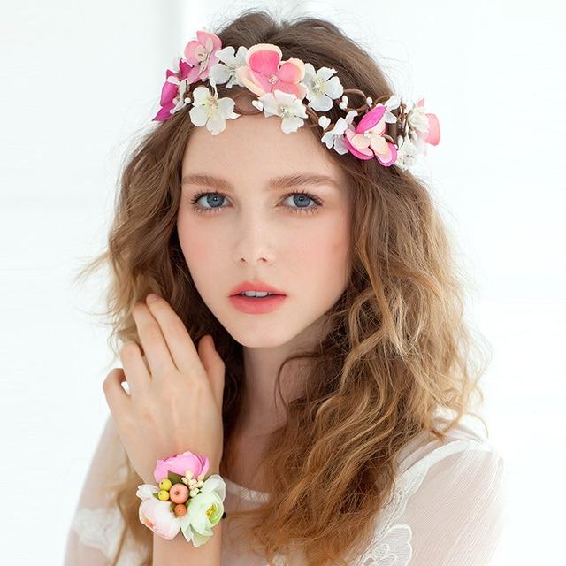 Bridal Flower Garland Floral Crystal Wedding Accessory Headband Hairband Party Festival Decoration Artificial Flowers
