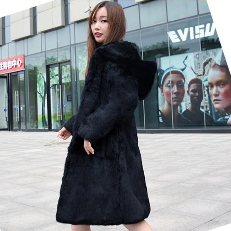 Real genuine natural full pelt whole skin rabbit fur coat with hood women fashion jacket ladies