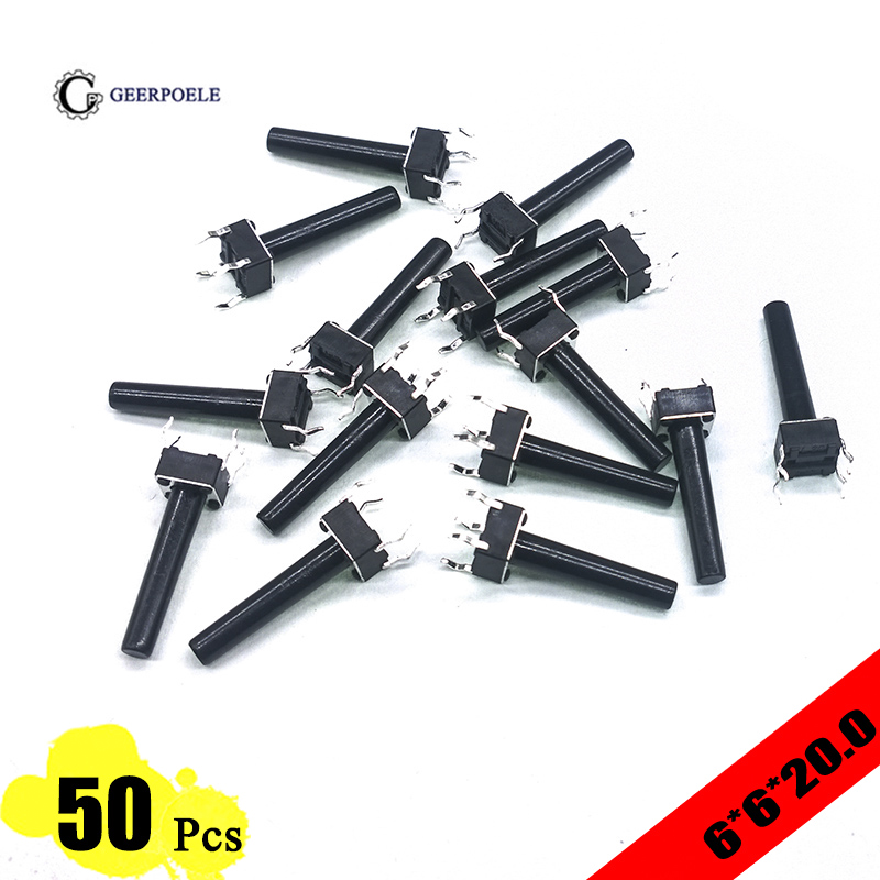 EP High Quality 50pcs/lot 6*6*20 mm Interruptor 4 PIN Tactile Tact Push Button Micro Switch Direct Plug-in Self-reset Top Copper 50pcs lot 6 6mm 6x6x4 3mm 13mm dip tactile tact mini push button switch micro switch momentary dip 4 6x6x5 6 7 8 9 10 11 12 13mm