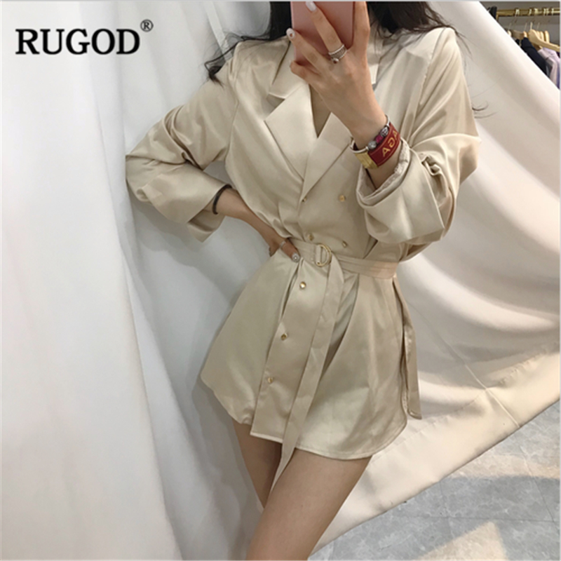 RUGOD Female Long Style Slim   Trench   Coat 2018 Autumn New Fashion Double Breasted Turn-down Collar Solid Sashes Casual Coat