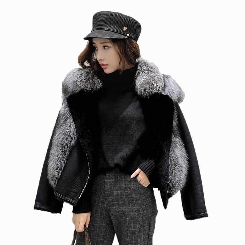 Black 2018 Vêtements Mouton Zt1295 Réel Veste Laine Renard Manteau Véritable Doublure En D'hiver Femmes De Cuir Peau Fourrure Coréenne fq6UcCwq
