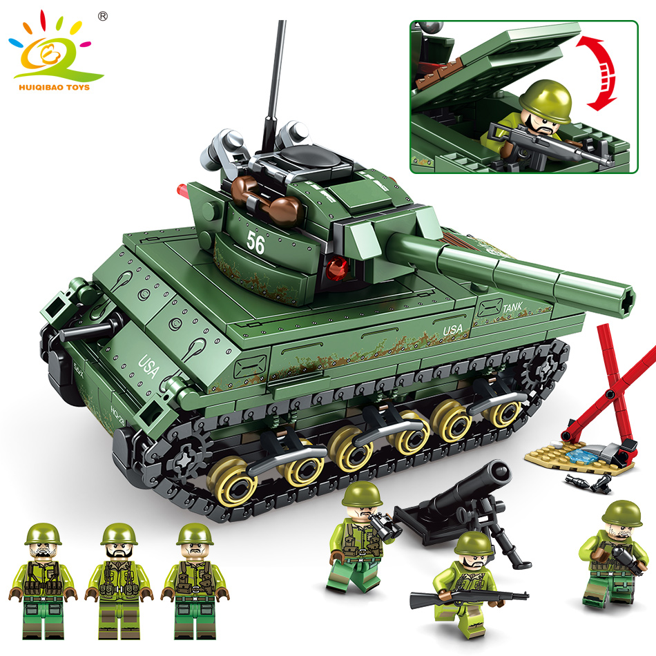 437pcs Military US M4 Sherman Tanks Building Blocks Compatible with legoing army soldier figures Bricks Toys for children boys437pcs Military US M4 Sherman Tanks Building Blocks Compatible with legoing army soldier figures Bricks Toys for children boys