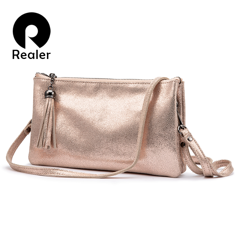 Realer Women Cross-body Shoulder Bag High Quality Genuine Leather Messenger Bag For Ladies Purse And Clutch Luxury Designer