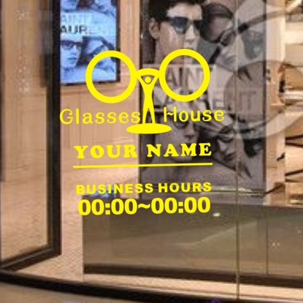 Glasses pattern sticker eye care shop bussiness hour decal store posters vinyl wall decals custom shop name mural l806