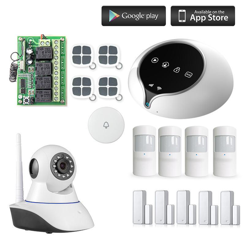 smart GSM wifi Alarm Wireless IOS/Android APP Home Burglar Security Protection Alarm System with PIR motion sensor wifii camera