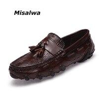 Misalwa Leather Men Loafers Men Tassel / Buckle Slip on Moccasins Crocodile Style Slip On Flats Big Size 38 47 Drop Shipping