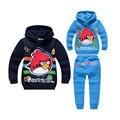 Bonito menino causal calças camisola do hoodie set adorável com raiva pássaro dos desenhos animados set para 2-10yrs meninos dos miúdos das crianças outerwear roupas definir