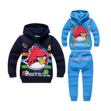cute causal boy hoodie sweatshirt pants set lovely angry cartoon bird set for 2-10yrs boys children kids outerwear clothes set