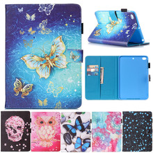 For IPad Mini 4 Flower Skull butterfly Pattern Flip PU Leather Stand Shell Cover Case for