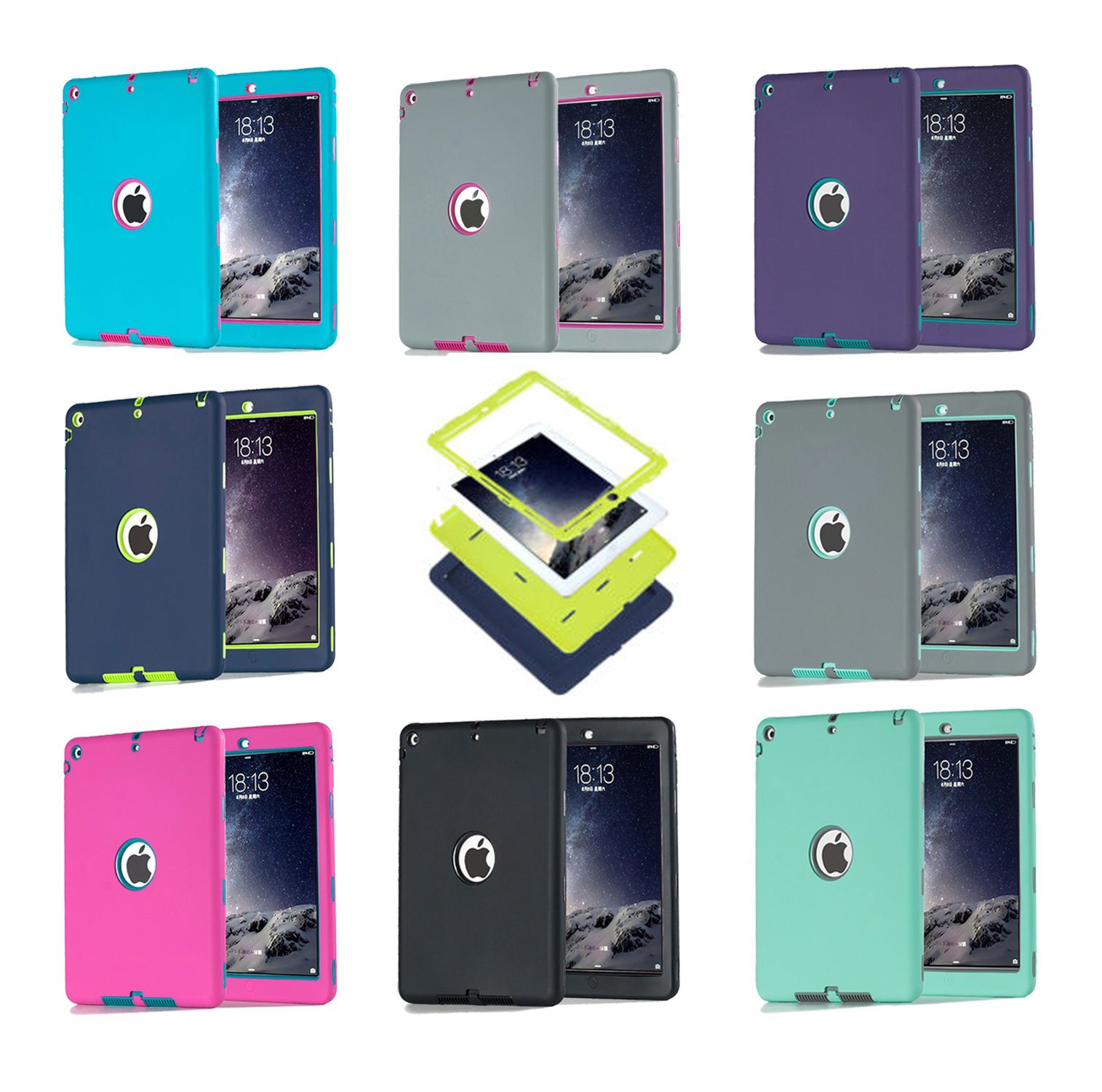For iPad Air 1/iPad 5 Cover Shockproof Silicone Case Funda Kids Safe Armor Heavy Duty Rubber Anti-Scratch Cover For iPad Air 1