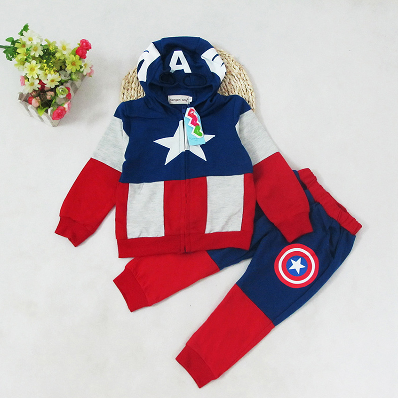 Captain America Superhero Cosplay Clothing  Halloween Party Costume for Kids Top Pants Children Boys Cosplay Custome 2pcs/set