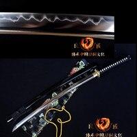 Ручной ковки T10 глины закаленное японский меч самурая Катана Полный Тан заточены