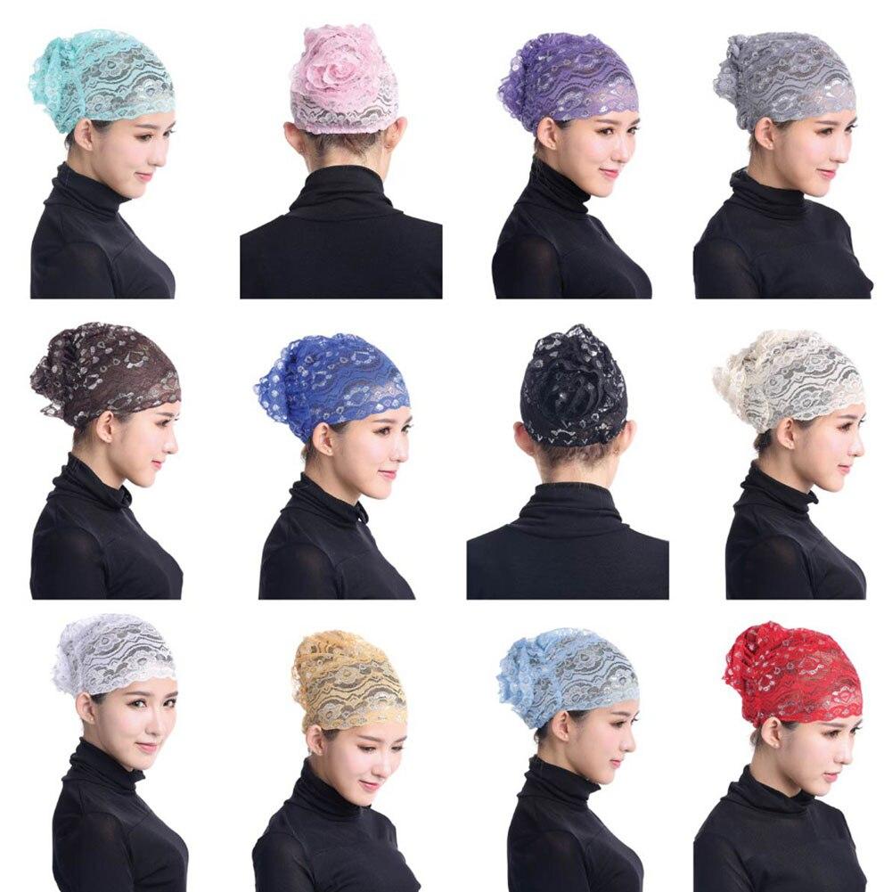Women's Lady Girl Lace Hijab Caps Hat Underscarf Headwear Adjustable Fashion Muslim  H9