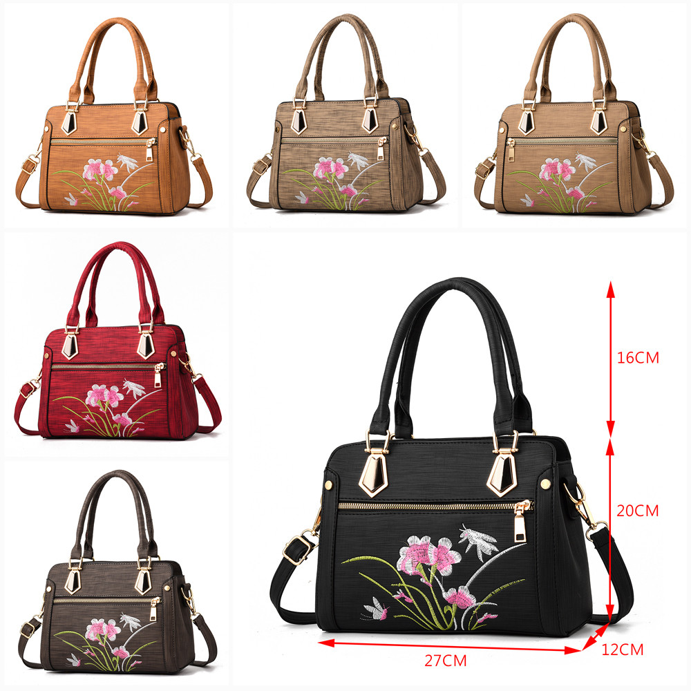 2018 Hot Sale Messenger Bags Women Fashion Flower Zipper Crossbody Bag High Quality Leather Messenger Bag Zipper Shoulder Bag S