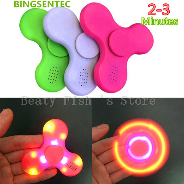 BINGSENTEC LED Light Bluetooth Speaker Music Spinner EDC Hand Spinner With USB Charge Cable For Autism Kids/Adult Mini Speakers