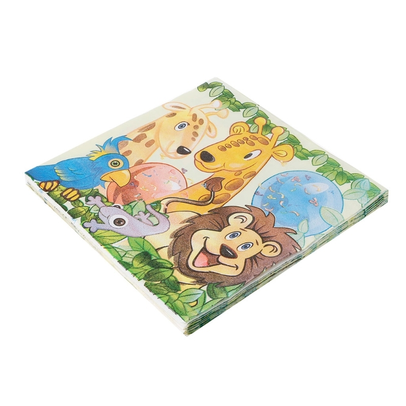 King Lion Jungle Animal Design Cute Pattern Napkin Tissue For Birthday Party Dec21