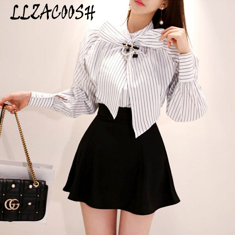 100% Quality 2 Piece Set Women Autumn Stripe Long Sleeve Beading Bow Elegant Shirt Top And Black High Waist Mini Skirt Set Beneficial To The Sperm