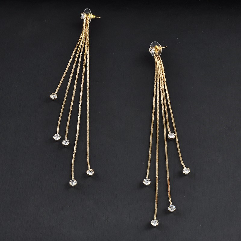 New Fashion 5 Chain Gold Silver Long Tel Earrings For Women Crystal Statement Charm Jewelry Er801 In Drop From Accessories On