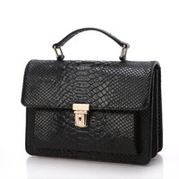 Occident Designers Fashion Crocodile Grain Handbag Genuine Leather Women Crossbody Handbag Messenger Bag Chain Shoulder Bag