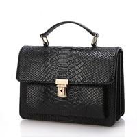 Occident Designers Fashion Crocodile Grain Handbag Genuine Leather Women Crossbody Handbag Messenger Bag Chain Shoulder Bag